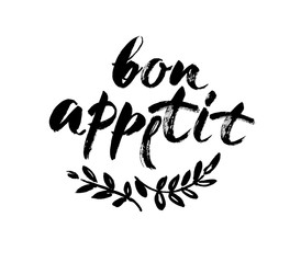 Estores personalizados con tu foto Bon appetit card. Hand drawn lettering background. Ink illustration. Modern brush calligraphy. Isolated on white background.