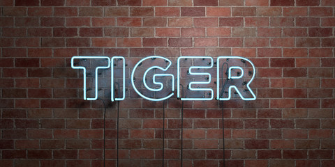 TIGER - fluorescent Neon tube Sign on brickwork - Front view - 3D rendered royalty free stock picture. Can be used for online banner ads and direct mailers..