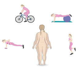 silhouette fat and slim woman, before and after weight loss. exercises gain or lose weight. vector illustration.