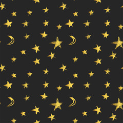 Seamless pattern with golden hand drawn stars and crescent moons. Vector illustration
