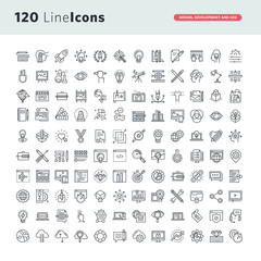 Simple IconsSet of premium vector thin line icons for graphic design, website design and development, app development, seo.