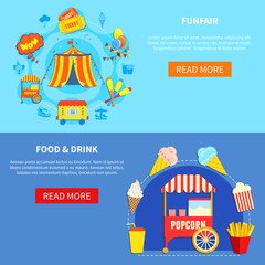 Amusement park 2 flat interactive banners