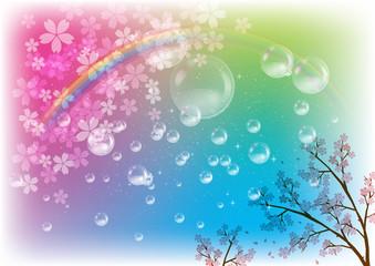 桜吹雪とシャボン玉と虹のイメージイラスト