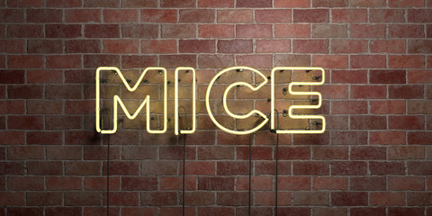 MICE - fluorescent Neon tube Sign on brickwork - Front view - 3D rendered royalty free stock picture. Can be used for online banner ads and direct mailers..