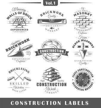 Set of vintage construction labels. Vol.1.  Posters, stamps, banners and design elements. Vector illustration