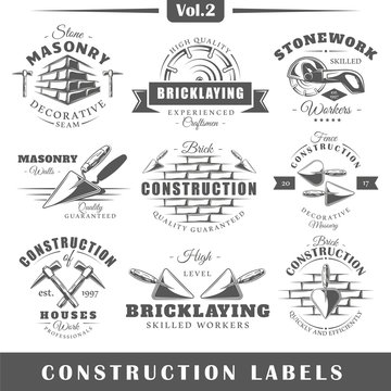 Set of vintage construction labels. Vol.2.  Posters, stamps, banners and design elements. Vector illustration