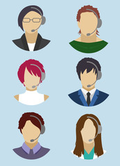 Icons Signs Pictograms Call Center Headphones Consultation Isola