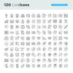 Set of premium concept icons for healthcare and medicine. Thin line vector icons for website design and development, app development.