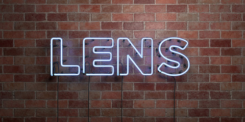 LENS - fluorescent Neon tube Sign on brickwork - Front view - 3D rendered royalty free stock picture. Can be used for online banner ads and direct mailers..