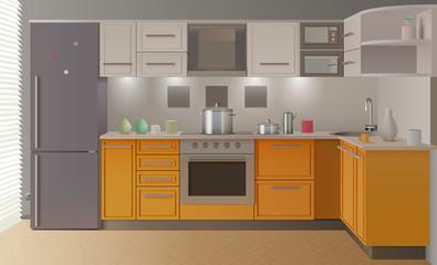 Orange Modern Kitchen Interior