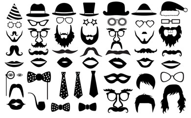 retro party set. glasses, hats, lips, mustaches, tie, beard, monocle, icons. vector illustration silhouette