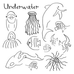 "A set of simple drawings on the theme ""under water"""