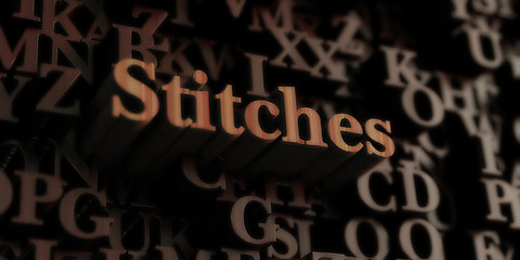 stitches - Wooden 3D rendered letters/message.  Can be used for an online banner ad or a print postcard.