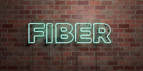 FIBER - fluorescent Neon tube Sign on brickwork - Front view - 3D rendered royalty free stock picture. Can be used for online banner ads and direct mailers..