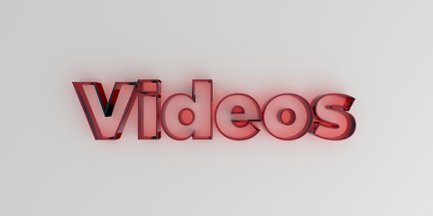 Videos - Red glass text on white background - 3D rendered royalty free stock image.