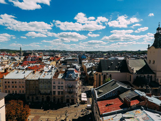 Aerial cityscape view in the old town