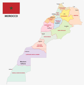 New administrative and political map of the twelve regions of the Kingdom of Morocco with flag 2015
