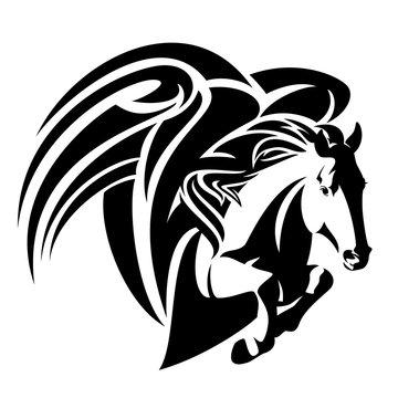 pegasus horse black and white vector design