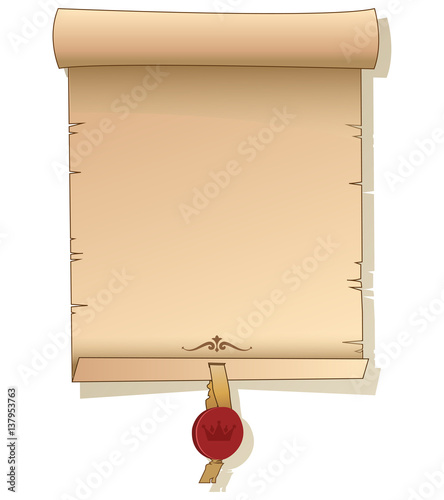 Ancient Scroll. Old Scroll Paper. Background With Signet. Vector ...