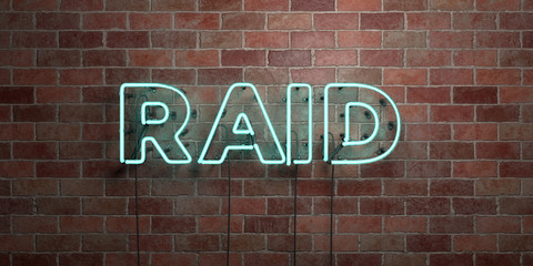 RAID - fluorescent Neon tube Sign on brickwork - Front view - 3D rendered royalty free stock picture. Can be used for online banner ads and direct mailers..