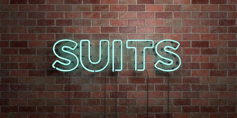 SUITS - fluorescent Neon tube Sign on brickwork - Front view - 3D rendered royalty free stock picture. Can be used for online banner ads and direct mailers..