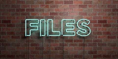 FILES - fluorescent Neon tube Sign on brickwork - Front view - 3D rendered royalty free stock picture. Can be used for online banner ads and direct mailers..