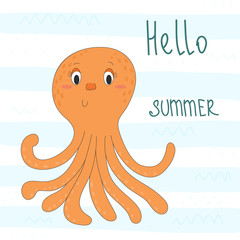 Cute hand drawn octopus in cartoon style. vector print