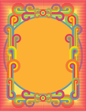 Pop Art Circles Frame in Bright Colors