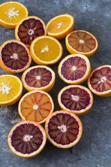 Halved oranges and blood oranges