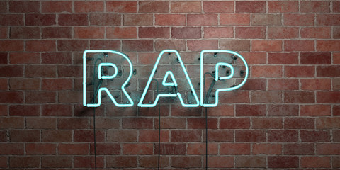 RAP - fluorescent Neon tube Sign on brickwork - Front view - 3D rendered royalty free stock picture. Can be used for online banner ads and direct mailers..