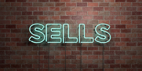 SELLS - fluorescent Neon tube Sign on brickwork - Front view - 3D rendered royalty free stock picture. Can be used for online banner ads and direct mailers..