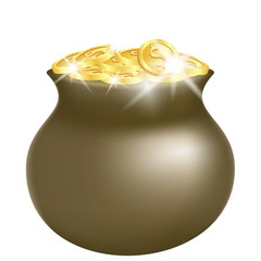 Green pot with shiny gold
