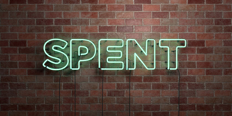 SPENT - fluorescent Neon tube Sign on brickwork - Front view - 3D rendered royalty free stock picture. Can be used for online banner ads and direct mailers..