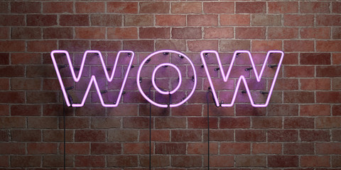 WOW - fluorescent Neon tube Sign on brickwork - Front view - 3D rendered royalty free stock picture. Can be used for online banner ads and direct mailers..
