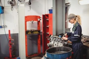 Female mechanic oiling car parts