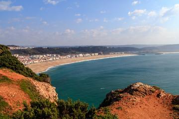 Vista da Praia da Nazaré em Portugal