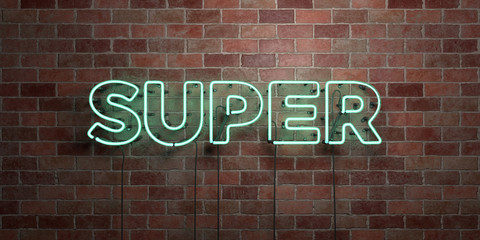 SUPER - fluorescent Neon tube Sign on brickwork - Front view - 3D rendered royalty free stock picture. Can be used for online banner ads and direct mailers..