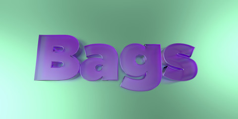 Bags - colorful glass text on vibrant background - 3D rendered royalty free stock image.