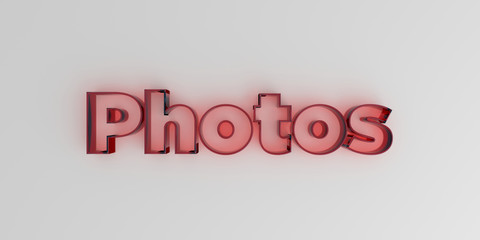 Photos - Red glass text on white background - 3D rendered royalty free stock image.