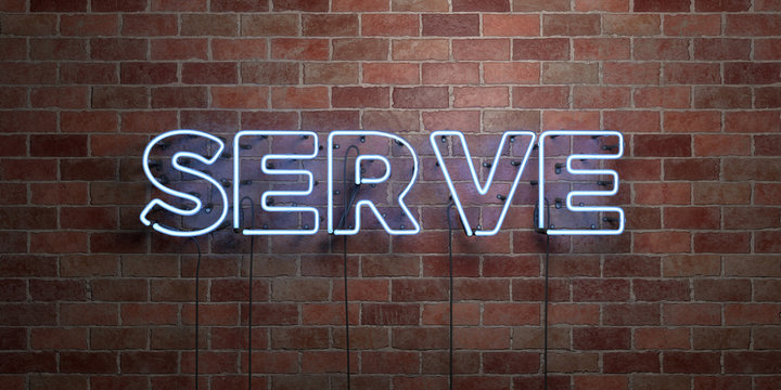 SERVE - fluorescent Neon tube Sign on brickwork - Front view - 3D rendered royalty free stock picture. Can be used for online banner ads and direct mailers..