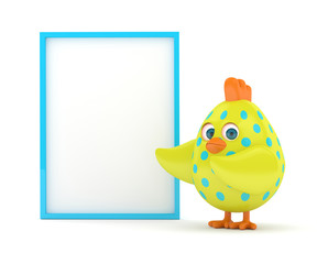3d render of Easter chick with board
