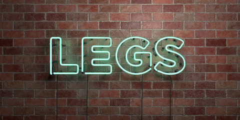 LEGS - fluorescent Neon tube Sign on brickwork - Front view - 3D rendered royalty free stock picture. Can be used for online banner ads and direct mailers..