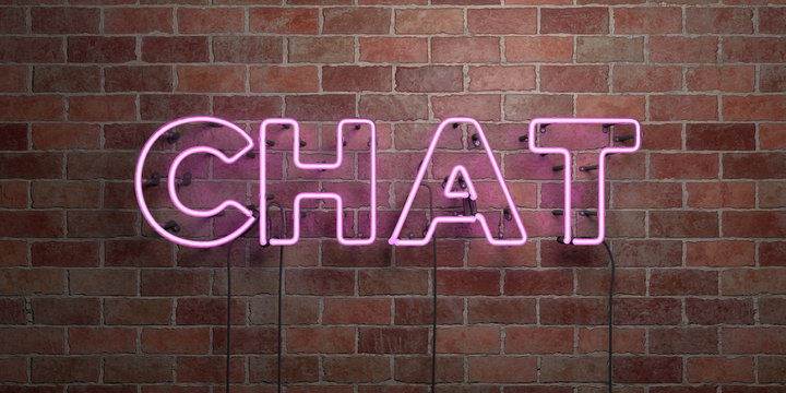 CHAT - fluorescent Neon tube Sign on brickwork - Front view - 3D rendered royalty free stock picture. Can be used for online banner ads and direct mailers..