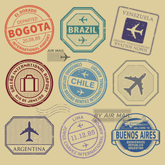 Travel stamps or symbols set South America airport theme