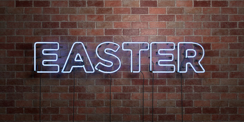 EASTER - fluorescent Neon tube Sign on brickwork - Front view - 3D rendered royalty free stock picture. Can be used for online banner ads and direct mailers..