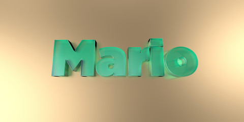 Mario - colorful glass text on vibrant background - 3D rendered royalty free stock image.