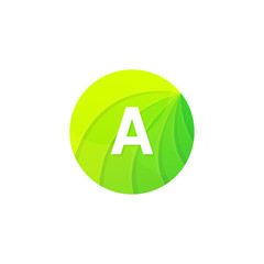 Abstract green circle ecology symbol. Clean organic icon letter A logo sign vector design
