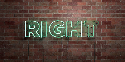RIGHT - fluorescent Neon tube Sign on brickwork - Front view - 3D rendered royalty free stock picture. Can be used for online banner ads and direct mailers..