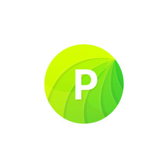 Abstract green circle ecology symbol. Clean organic icon letter P logo sign vector design