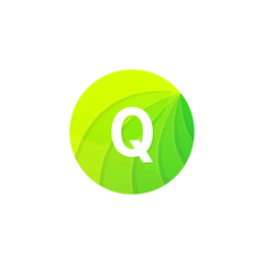 Abstract green circle ecology symbol. Clean organic icon letter Q logo sign vector design
